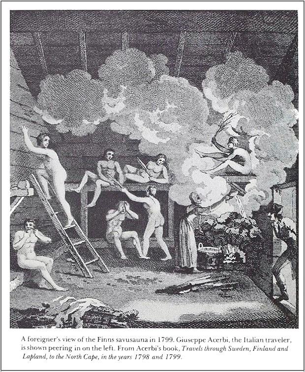 Финские бани по черному старинная иллюстрация