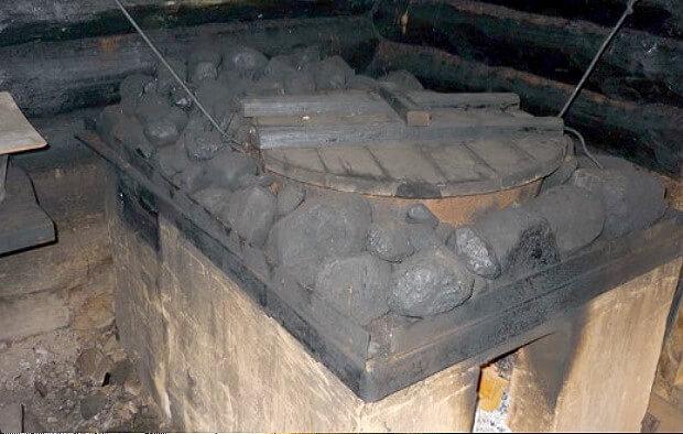 Печь для бани по чёрному с котлом в очаге