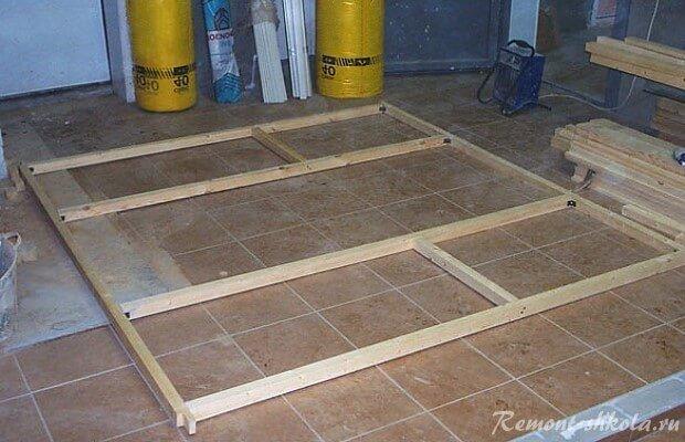 монтаж каркаса сауны на полу